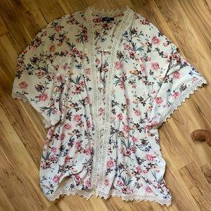 Cream and Floral Kimono